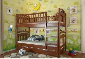 Двоярусне дерев`яне ліжко Смайл без шухляд (Сосна)