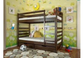 Двоярусне дерев`яне ліжко Ріо без шухляд (Бук)