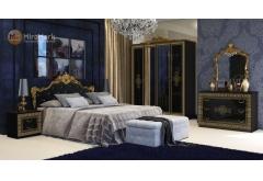 Комплект Спальні Дженіфер Чорний Глянець 4-ох дверною шафою