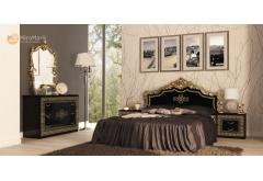 Комплект Спальні Дженіфер Чорний Глянець 3-ох дверною шафою
