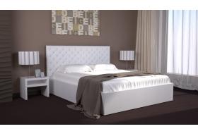 Ліжко Богера-1 з Мякою спинкою (квадрати) з ламеллю без механізма