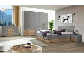 Комплект Спальні Лінц 5дв шафою Сірий Шифер - Дуб Вотан