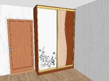 Шафа-купе ДСП: Яблуня + дуб молочний + піскоструйний малюнок