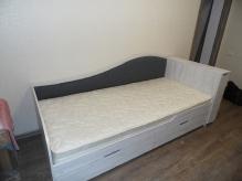 Дитячі Ліжка ДСП: Дитяче Ліжечко з м'якою спинкою Аляска