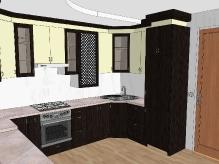 Кухня МДФ: Шовк венге + Платина шагрень