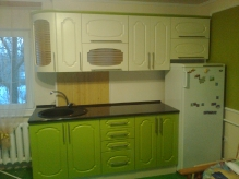 Кухня: МДФ: Павутина Беж + Павутина Олива
