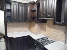 Кухня МДФ: Горіх Темний + Чорна Патина