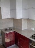 Кухня МДФ: Білі квіти + Червоні квіти