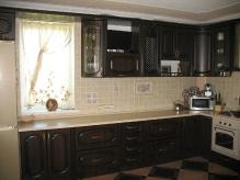 Кухня МДФ: Горіх темний + темна патина