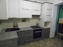 Кухня МДФ: Білий Супер Мат + Сірий Бетон