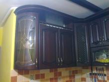 Кухня МДФ: Горіх темний + патина чорна (Подвійна класика)