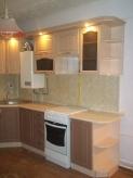 Кухня МДФ: Льон темний (низ) + Льон світлий (верх)